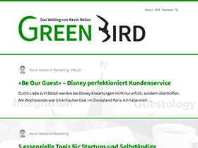 Screenshot vom Blog Green Bird